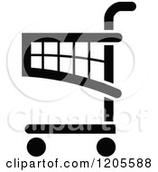 Clipart Of A Black And White Shopping Cart Icon 8 Royalty Free Vector Illustration
