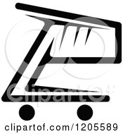 Clipart Of A Black And White Shopping Cart Icon 7 Royalty Free Vector Illustration