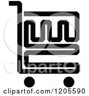 Clipart Of A Black And White Shopping Cart Icon 15 Royalty Free Vector Illustration