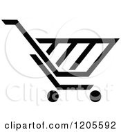 Clipart Of A Black And White Shopping Cart Icon 13 Royalty Free Vector Illustration