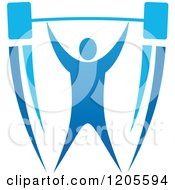 Clipart Of A Blue Man Weight Lifting Royalty Free Vector Illustration
