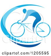 Clipart Of A Blue Man Riding A Bicycle Royalty Free Vector Illustration by Vector Tradition SM