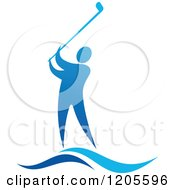 Clipart Of A Blue Man Golfing Royalty Free Vector Illustration