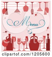 Clipart Of A Pink Menu Cover With Wine Glasses Royalty Free Vector Illustration