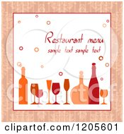 Clipart Of A Menu Cover With Wine Glasses And Bottles And Sample Text Royalty Free Vector Illustration