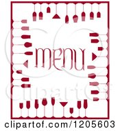 Clipart Of A Red And White Menu Cover With Wine Glasses Royalty Free Vector Illustration
