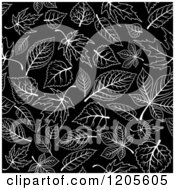 Clipart Of A Seamless Black And White Leaf Pattern Royalty Free Vector Illustration