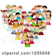 Clipart Of A Heart Made Of Happy Diverse Children Royalty Free Vector Illustration