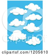 Clipart Of A Blue Sky And Puffy White Clouds 2 Royalty Free Vector Illustration