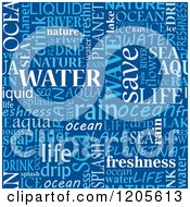 Clipart Of A Seamless Blue Water Word Collage Royalty Free Vector Illustration