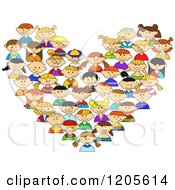Clipart Of A Heart Made Of Diverse Children Royalty Free Vector Illustration