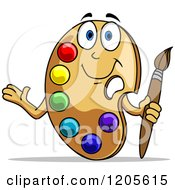 Clipart Of A Happy Art Palette Mascot Presenting And Holding A Brush Royalty Free Vector Illustration by Vector Tradition SM