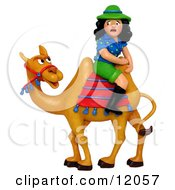 Clay Sculpture Clipart Scared Tourist Woman Sitting Backwards On A Camel Royalty Free 3d Illustration