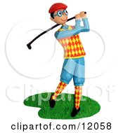 Clay Sculpture Clipart Dorky Golfer Swinging His Club Royalty Free 3d Illustration
