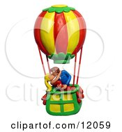 Clay Sculpture Clipart Couple Making Out In A Hot Air Balloon Royalty Free 3d Illustration