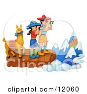 Clay Sculpture Clipart Hiker Couple And Llama Viewing The Andes Royalty Free 3d Illustration