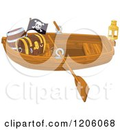 Cartoon Of A Wooden Pirate Row Boat With A Treasure Chest And Flag Royalty Free Vector Clipart