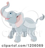 Cartoon Of A Cute Baby Elephant Looking Up Royalty Free Vector Clipart by Pushkin