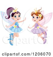 Cartoon Of Happy Fairy Princesses In Blue And Purple Dresses Royalty Free Vector Clipart