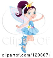 Cartoon Of A Happy Fairy Princess In A Blue Dress Royalty Free Vector Clipart by Pushkin