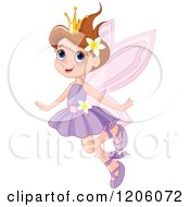 Cartoon Of A Happy Brunette Fairy Princess In A Purple Dress Royalty Free Vector Clipart