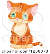Cartoon Of A Cute Ginger Tabby Kitten Sitting Royalty Free Vector Clipart by Pushkin