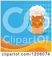 Clipart Of A Frothy Oktoberfest Beer Over Diamonds And Waves Royalty Free Vector Illustration
