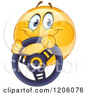 Cartoon Of A Happy Emoticon Smiley Driving With A Steering Wheel Royalty Free Vector Clipart