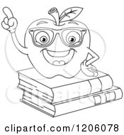 Cartoon Of An Outlined Smart Apple On Books Royalty Free Vector Clipart by yayayoyo