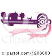 Clipart Of A House Dog And Property On A Purple Skeleton Key With A Pink Bow Royalty Free Vector Illustration