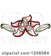 Clipart Of A Beautiful Red Lily Flower With A Spiral And Leaves Royalty Free Vector Illustration