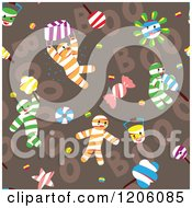 Clipart Of A Seamless Mummy Boy On Brown Pattern Royalty Free Vector Illustration by Cherie Reve