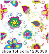 Clipart Of A Seamless Colorful Flower Pattern Royalty Free Vector Illustration by Cherie Reve