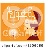 Clipart Of A Retro Creative Man With Lightbulbs In His Head Over Orange Royalty Free Vector Illustration