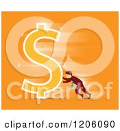 Clipart Of A Retro Businessman Pushing A Dollar Symbol Over Orange Royalty Free Vector Illustration by Qiun