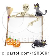 Skeleton Pointing Down To A Halloween Sign With Black Cats A Broomstick And Pumpkins