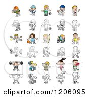 Cartoon Of Colored And Outlined People Engaged In Different Sports Royalty Free Vector Clipart