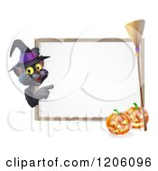 Cartoon Of A Black Cat Wearing A Witch Hat And Pointing To A Halloween Sign With Pumpkins And A Broomstick Royalty Free Vector Clipart