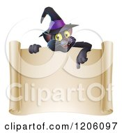 Cartoon Of A Black Cat Wearing A Witch Hat And Pointing Down At A Halloween Scroll Sign Royalty Free Vector Clipart
