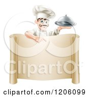 Cartoon Of A Happy Young Chef With A Mustache Holding A Platter And Pointing Down At A Scroll Sign Royalty Free Vector Clipart