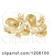 Clipart Of A 3d Golden Year 2013 And Christmas Burst Ornaments Royalty Free Vector Illustration