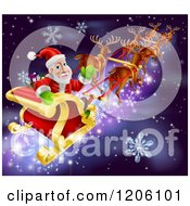 Cartoon Of Santa Looking Back And Waving While Flying In His Sleigh Over Snow And Stars Royalty Free Vector Clipart by AtStockIllustration