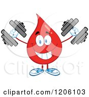 Cartoon Of A Happy Blood Or Hot Water Drop Lifting Dumbbells Royalty Free Vector Clipart