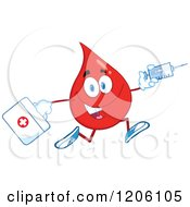 Cartoon Of A Happy Blood Drop Running With A First Aid Kit And Syringe Royalty Free Vector Clipart