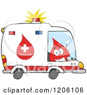 Cartoon Of A Happy Blood Drop Driving An Ambulance Royalty Free Vector Clipart by Hit Toon