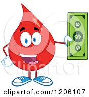 Cartoon Of A Happy Blood Or Hot Water Drop Holding A Dollar Bill Royalty Free Vector Clipart