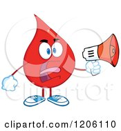 Cartoon Of A Mad Blood Or Hot Water Drop Making An Announcement Royalty Free Vector Clipart