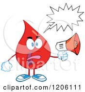 Cartoon Of A Mad Blood Or Hot Water Drop With A Speech Bubble Making An Announcement Royalty Free Vector Clipart