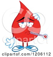 Cartoon Of A Sick Blood Or Hot Water Drop With A Thermometer Royalty Free Vector Clipart