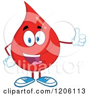 Cartoon Of A Happy Blood Or Hot Water Drop Holding A Thumb Up Royalty Free Vector Clipart